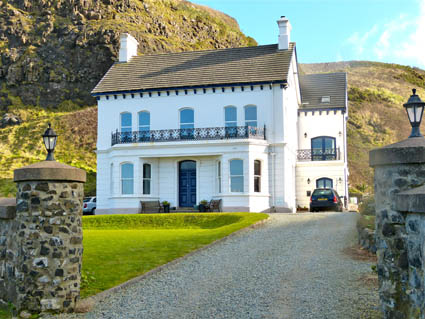Stone pillared entry to group accommodtion villa Downhill Northern Ireland