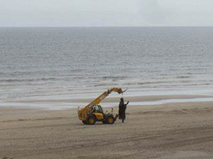 Game of Thrones filming in Downhill Northern Ireland: first sculpture transported to new beach location