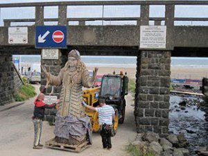 Game of Thrones filming in Downhill Northern Ireland: sculpture approaches the train bridge