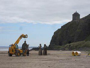 Game of Thrones film set at Downhill Beach: sculptures are moved down to the set